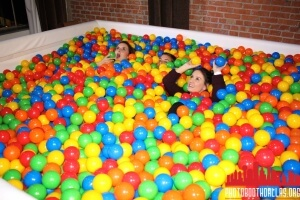 girls in ball pit